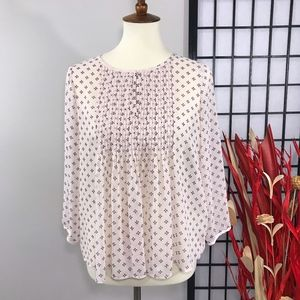 OLD NAVY Pleated Floral Chiffon Long Sleeve Blouse